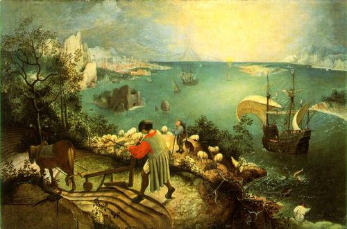 Bruegel tells the story of Icarus drowning: notice the legs splashing by the ship.